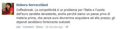 Screenshot Facebook di Debora Serracchiani