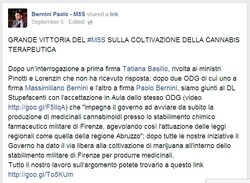 Screenshot dalla pagina Facebook di Paolo Bernini